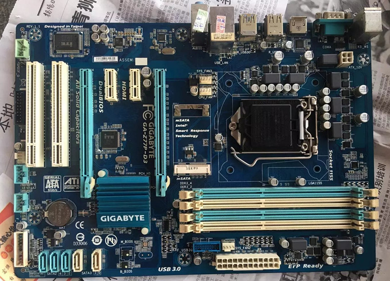 ФОТО For Gigabyte GA-Z77P-D3 Original Used Desktop Motherboard Z77P-D3 For Intel Z77 Socket LGA 1155 For i3 i5 i7 DDR3 ATX On Sale
