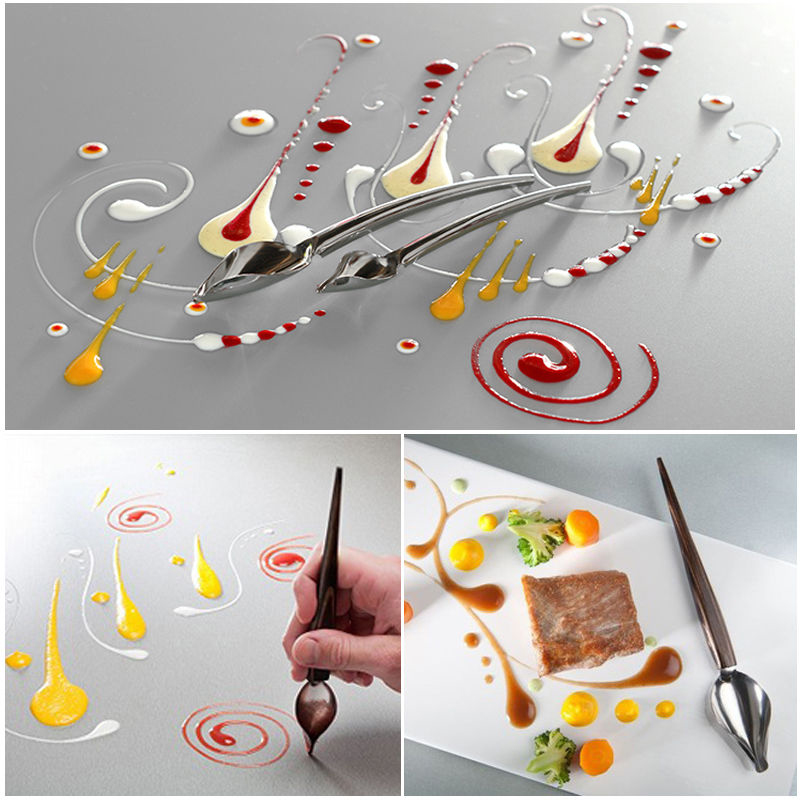1Pcs Creative Deco Spoon Decorate Food Draw Tool Design Sauce Dressing Plate Dessert Bakeware Cake Spoons Kitchen Accessories