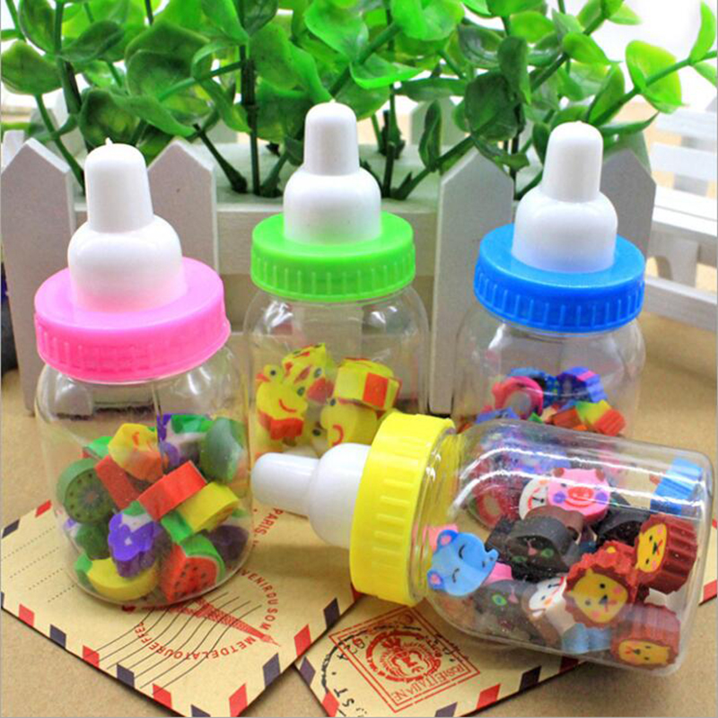 1pc (18-22 Tablets) Milk Bottle Eraser Fruit Animal Christmas Digital Rubber Bottle Children'S Students Cute Stationery Gifts