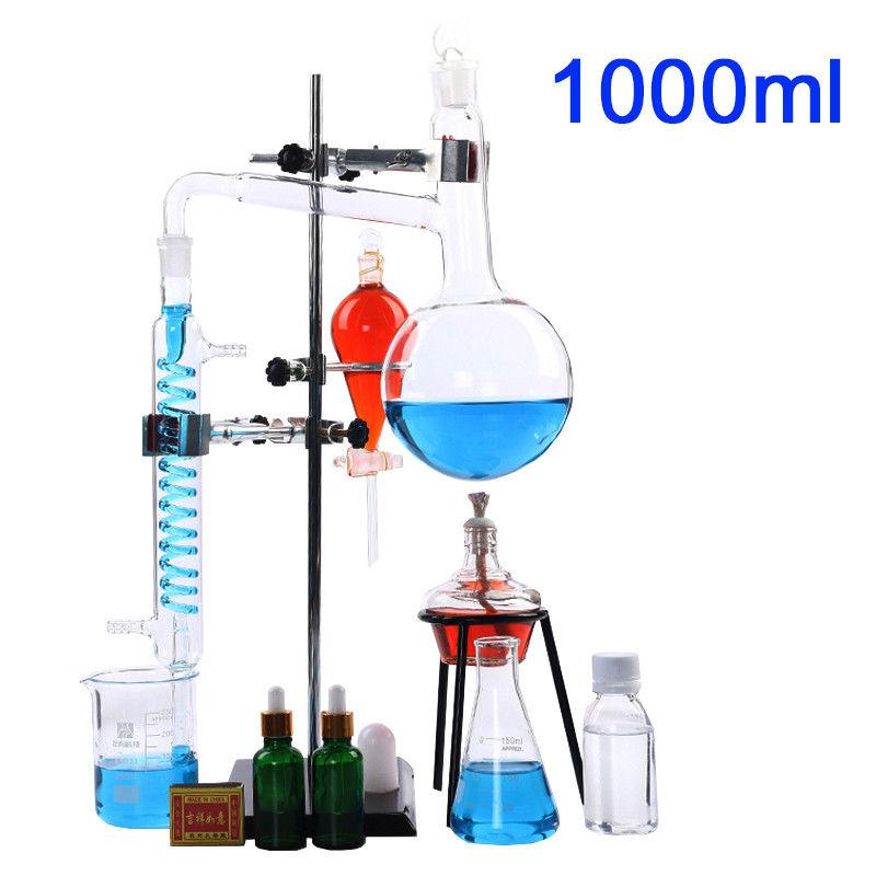 1000ml New Lab Essential Oil Distillation Apparatus Water Distiller Purifier Glassware Kits w/Condenser Pipe Full Sets