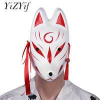 YiZYiF Fox Masks Hand-painted Japanese PVC Half Face Rabbit/Full Face Fox Mask Masquerade Festival Ball Kabuki Kitsune Costume