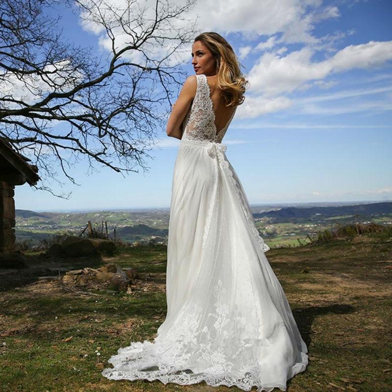 Elegant Wedding Dress Open Back : Elegant lace open back wedding dresses v neck rustic