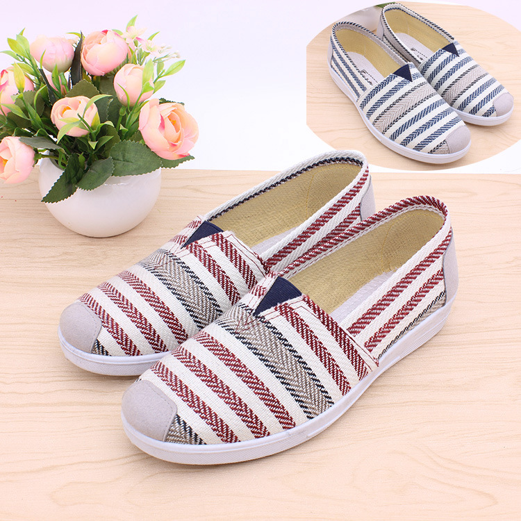 Women Flats Shoes Lady Spring Slip-on Striped Canvas Shoes Women High Quality Breathable Round Toe Women Loafers Shallow Shoes vintage embroidery women flats chinese floral canvas embroidered shoes national old beijing cloth single dance soft flats