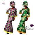 Vestidos para As Mulheres Vestido Étnico africano 2 Peça Set Mulheres Longas Top Africano Vestido de manga Longa Saia Vestido de Terno Plus Size 6XL WY050