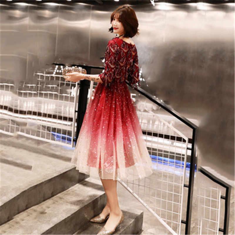 Платье Для женщин Градиент Звездное Красный XS XL 2XL плюс Размеры платье 2019 Новое сезон: весна–лето блестками Элегантные V шеи тонкий платье LD53