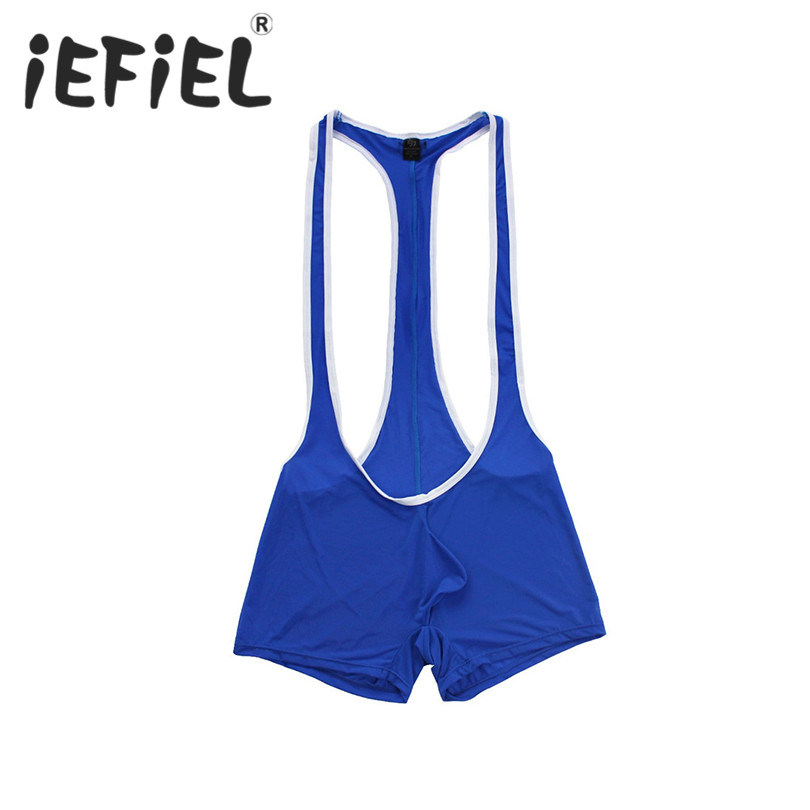 iEFiEL Mens Lingerie Sleeveless Stretchy One-piece Wrestling Singlet Leotard Bodysuit Underwear Nightwear Transparent Shapers