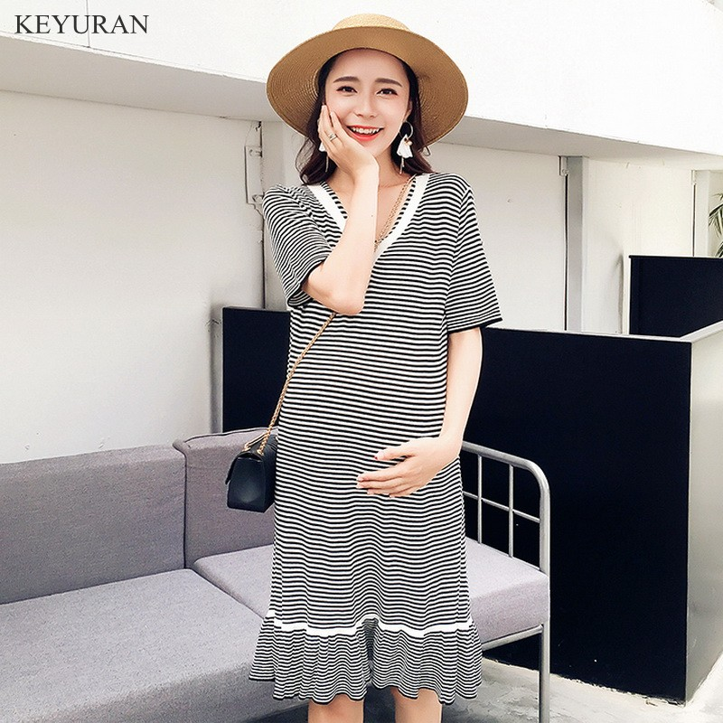 2018 Summer New V neck Striped Maternity Dress Elegant Maternity Clothes for Pregnant Women Pregnancy Clothing Y003
