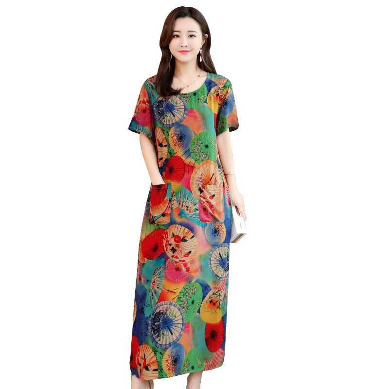 US $13.73 45% OFF|Women summer dresses casual print vintage long dress  loose plus size maxi dress robe vestidos-in Dresses from Women\'s Clothing  on ...