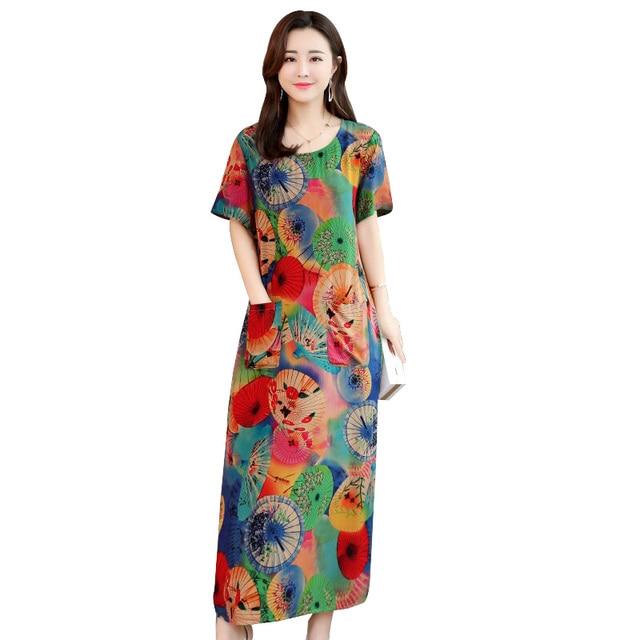 Women summer dresses casual print vintage long dress loose plus size maxi  dress robe vestidos
