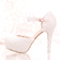 White Lace Flower Bridal Shoes High Heel Round Toe Fashion Wedding Pumps With Ankle Straps Women