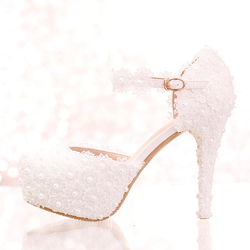 White Lace Flower Bridal Shoes High Heel Round Toe Fashion Wedding Pumps with Ankle Straps Women Sandals Bridesmaid Shoes