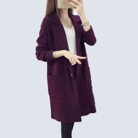 Knit Sweater 2017 New Female Spring Girls Long Korean Loose Suit Collar Sweater Coat Female Plus