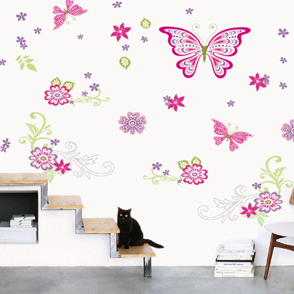 wall sticker baby girl room decor butterfly promotion shop for colorful butterfly flower wall decals removable stickers home decor kids baby nursery art girls bedroom living room decor decal