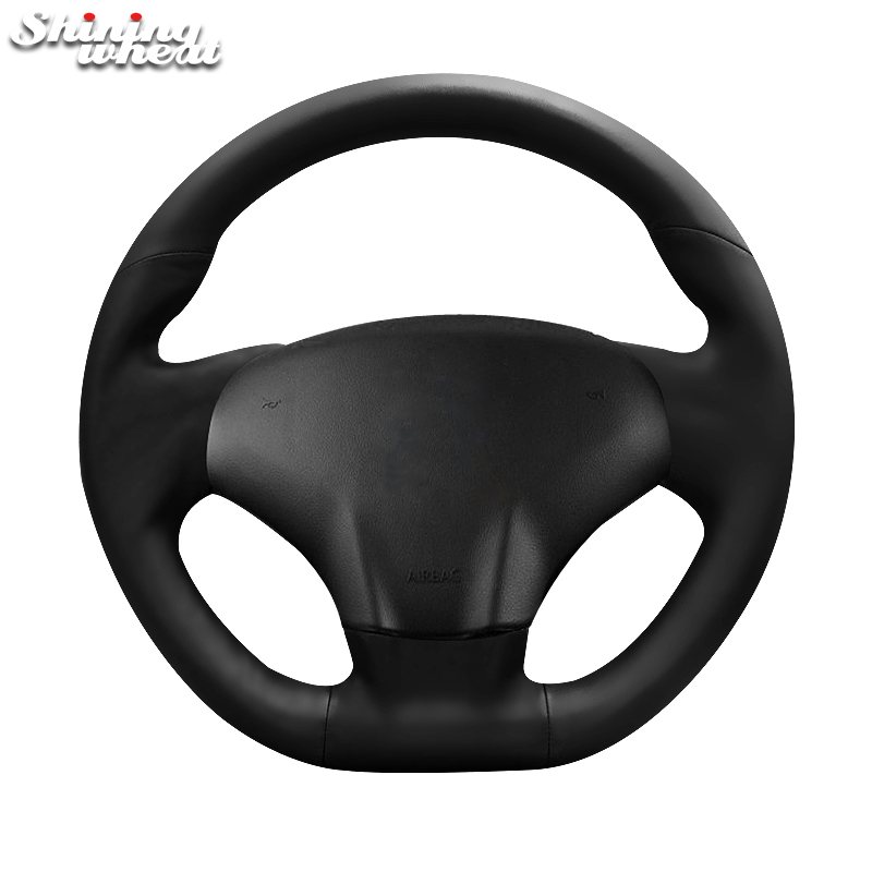 Shining wheat Black Genuine Leather Steering Wheel Cover for Citroen ds3 shining wheat hand stitched black leather steering wheel cover for citroen elysee c elysee citroen xsara picasso