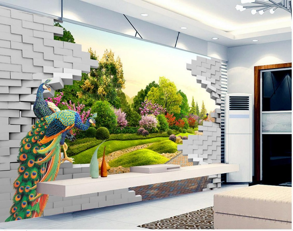 3D landscape peacock garden wall fashion Wallpaper brick wall 3d