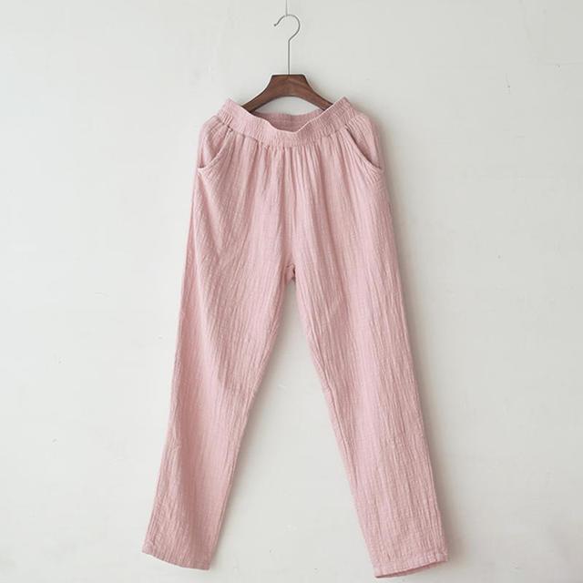 Retro Cotton Linen Trousers Women Spring Summer Casual Elastic Waist Straight Women Pants Pantalon Femme Long Sweatpants C5286 3