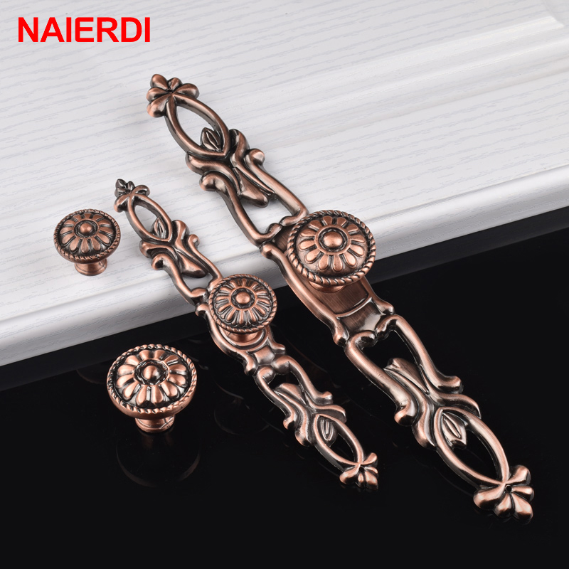 4PCS NAIERDI Retro Bronze Kitchen Handles Door Zinc Alloy Cabinet Knobs European Wardrobe Furniture Handle Drawer Pull Hardware