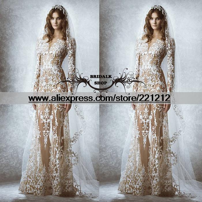 Amazing Wedding Dresses A Line V Neck Long Sleeve Appliques Floor ...