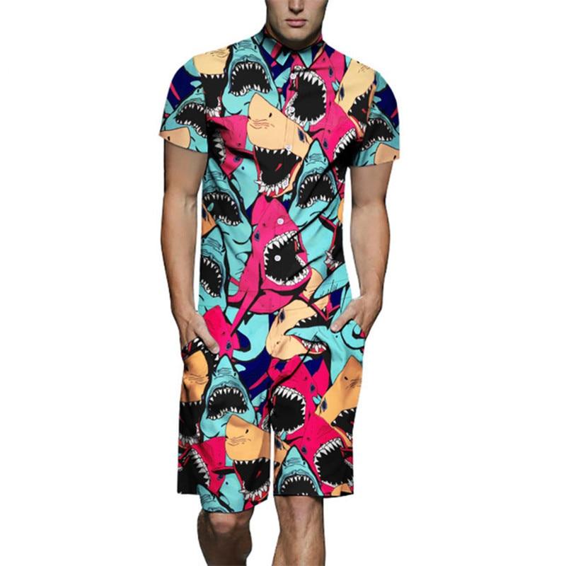 Jumpsuit Men Summer Short Sleeve Rompers Personalized Shark Print Cotton One Piece Overalls Playsuit Pants Male Set Clothes