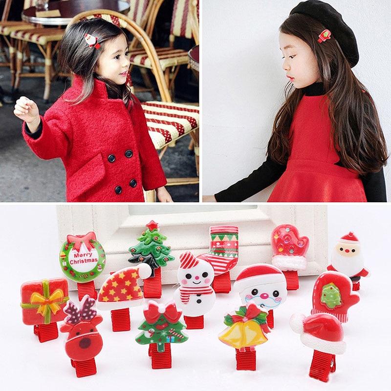 2017 New Fashion Hair Clips for Girls Santa Claus Christmas Tree Snowman Elk Pattern Xmas Hairpins Barrettes Hair Accessories
