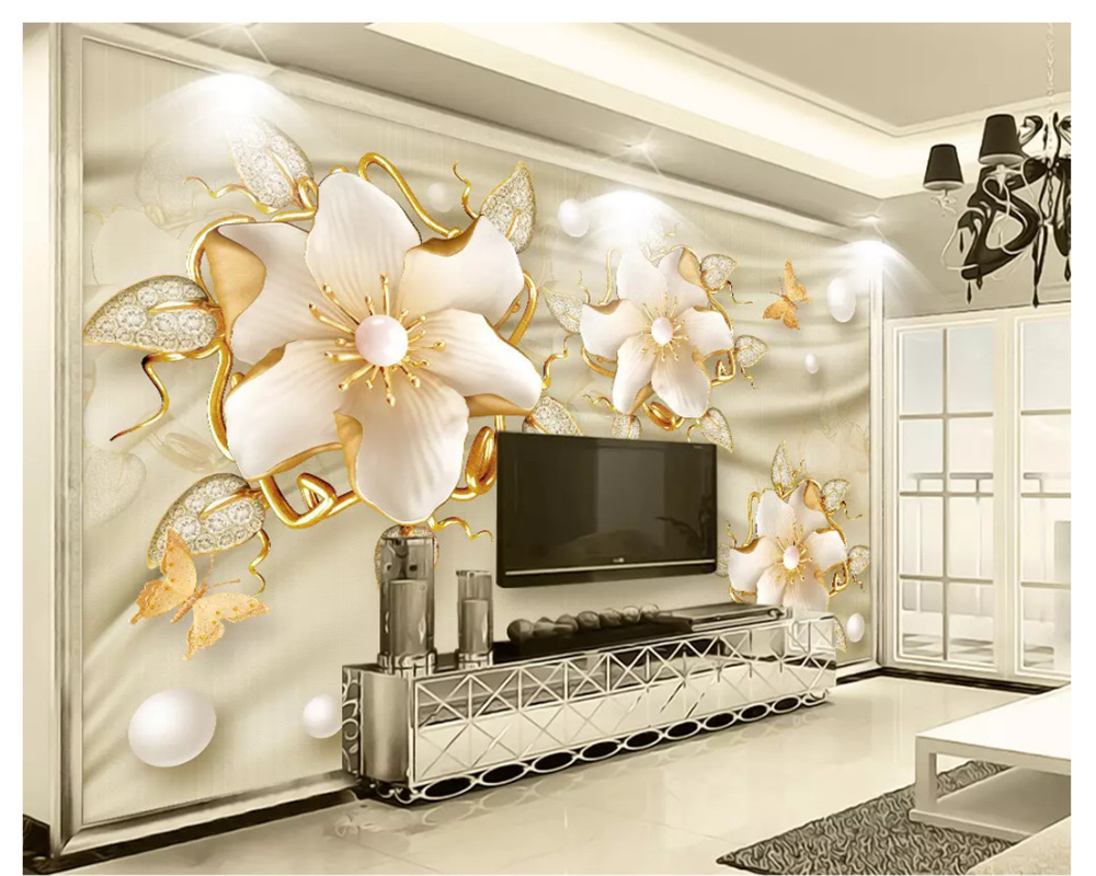 Beibehang Modern Classic Three-dimensional Wallpaper Golden European Style Jewelry Flower TV Background Wall Papers Home Decor