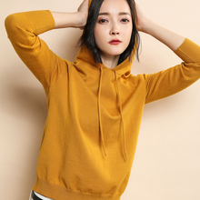 BELIARST 2018 Spring and Autumn New Pure Cashmere Sweater Female Solid Pullover Hooded Knitted Sweater Long Sleeve Sweater