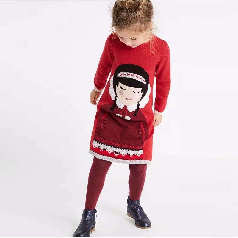 7a2df7e43f78 Φθινόπωρο Κορίτσια Κόκκινο Knit Φόρεμα Χαριτωμένα Kids ...