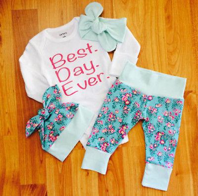 Newborn Infant Baby Girls Romper+Floral Long Pants Hat Clothes 4Pcs Outfits Set