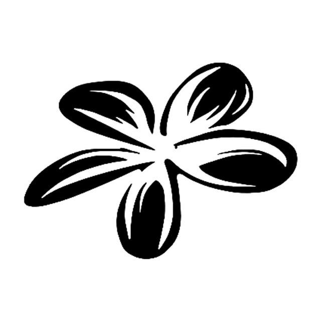 13 7 cm 9 9 cm plumeria bunga kepribadian vinyl mobil sticker hitam perak s3