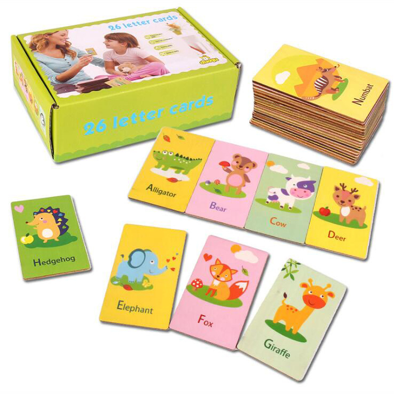 Home Wooden Early Education Baby Preschool English Learning Abc Alphabet Letter Numbers Cards Cognitive Best Christmas Gift To Assure Years Of Trouble-Free Service