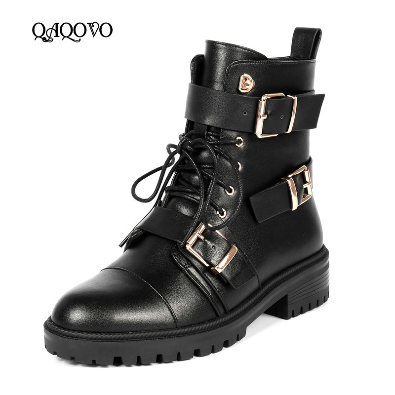 Spring Autumn Fashion Women Boots Shoes Cow Leather Flat Square Low Heel Ankle Boots Lacing Buckle Zip Winter Motorcycle BootsSpring Autumn Fashion Women Boots Shoes Cow Leather Flat Square Low Heel Ankle Boots Lacing Buckle Zip Winter Motorcycle Boots