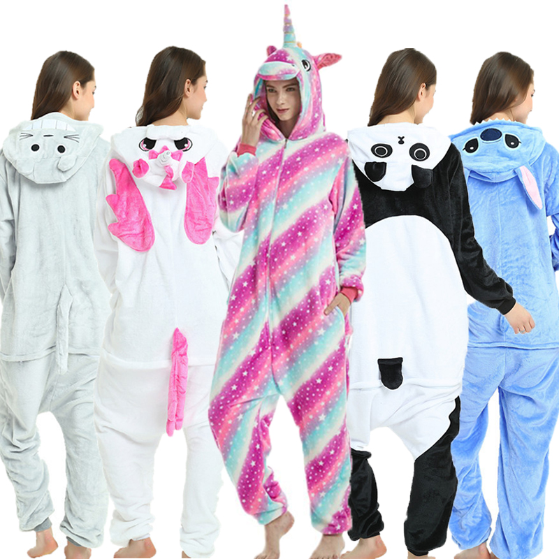 Uni s Animal Pajamas Anime Onesie Stitch Unicorn Panda Bear Pikachu Flannel Cartoon Cute Warm Cosplay Sleepwear