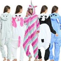 Unisexe adultes pyjamas animaux Anime Onesie point licorne Panda ours Pikachu flanelle dessin animé mignon chaud Cosplay vêtements de nuit Kigurumi