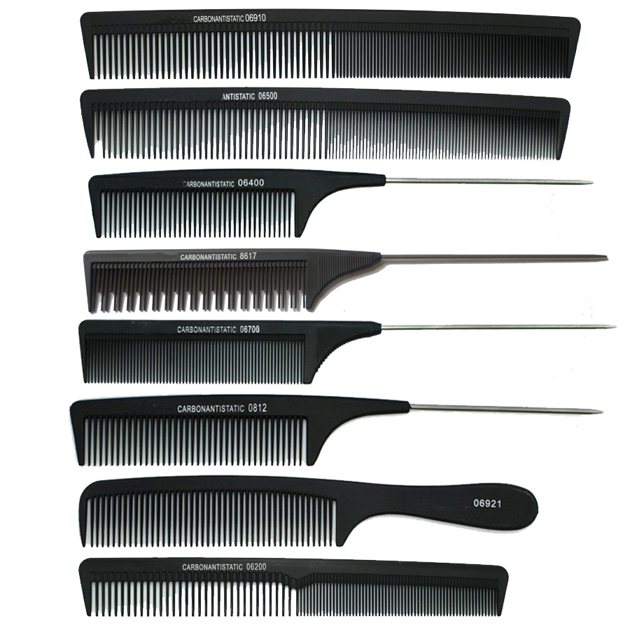 hair styling fibre 8pcs lot professional salon combs hair cutting carbon 4616
