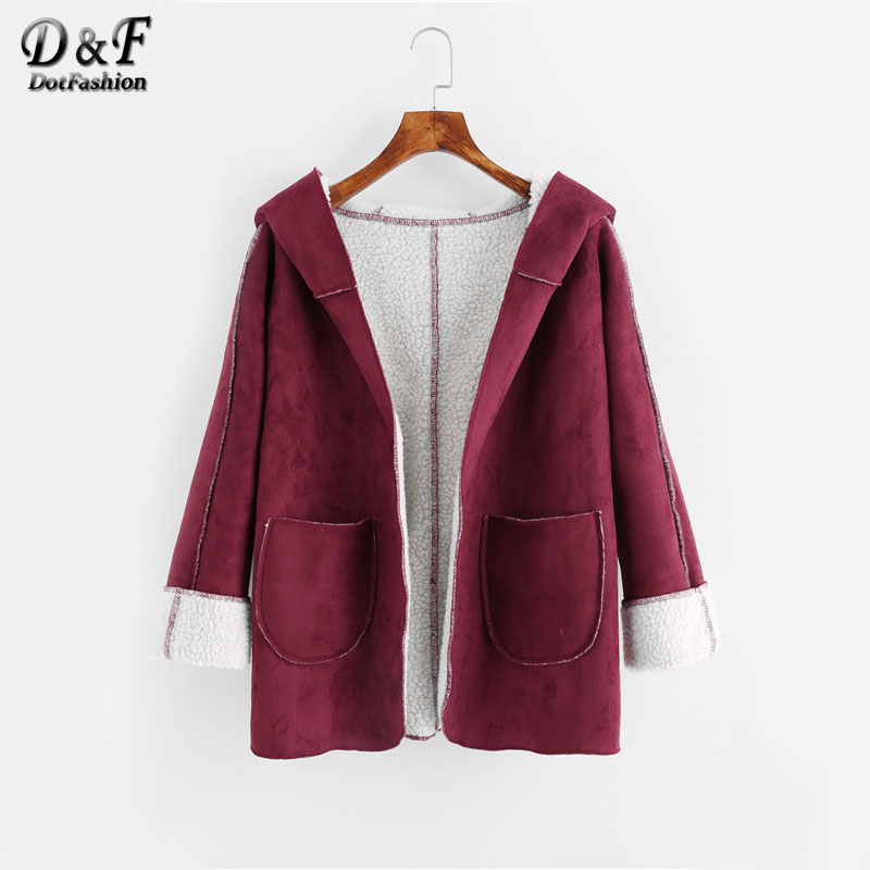 Dotfashion Faux Shearling Lined Hooded Coat Outwear 2017 Woman Clothes Top Burgundy Long Sleeve Winter Pocket Short Coat hooded checked borg lined coat