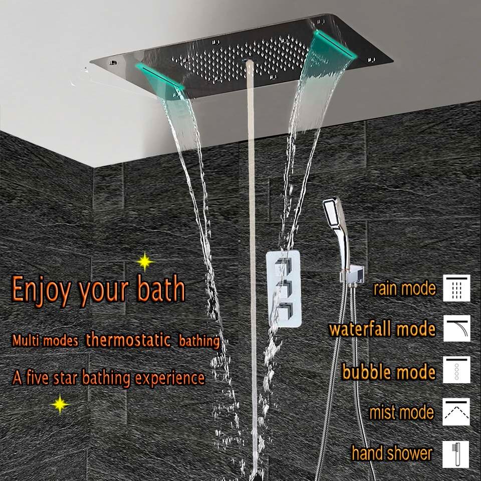 Conjunto de Chuveiro Do banheiro LED Cabeça de Chuveiro de Teto Painel Termostática Torneira Escondido Misturador do Banho de Luxo Cachoeira Chuvas Bolha Névoa