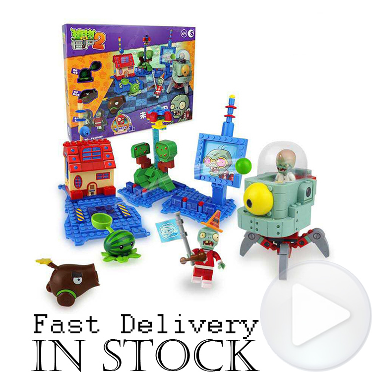 Plants vs Zombies 050301 Future World Building Bricks Blocks anime action figures My world Minecraft Toys for children gifts plants vs zombie future world pirates mini scene edition model building blocks bricks toys for chidren my world gift brinquedos