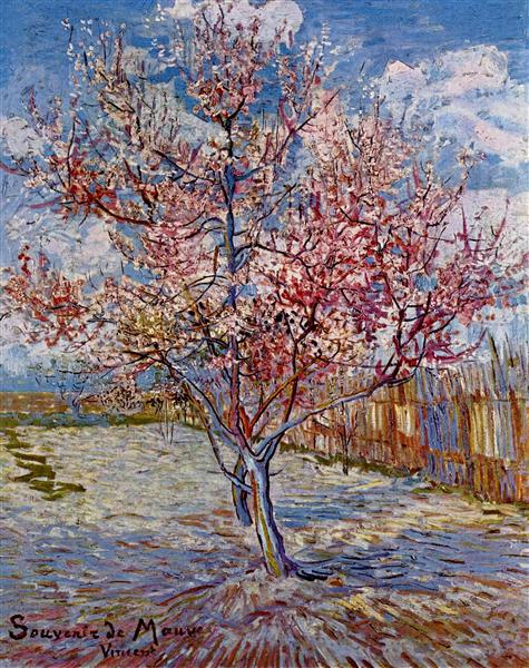 Peach Tree in Bloom in Memory of Mauve, 1888 by Vincent Van Gogh Oil Painting Reproduction on Canvas Impressionist Hand PaintedPeach Tree in Bloom in Memory of Mauve, 1888 by Vincent Van Gogh Oil Painting Reproduction on Canvas Impressionist Hand Painted