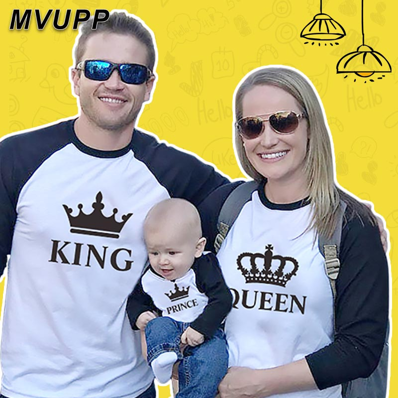 King Queen Family Matching Clothes Mommy And Me Long T Shirt Baseball Tees Mother Daughter Outfits Father Son Look Mom Patchwork