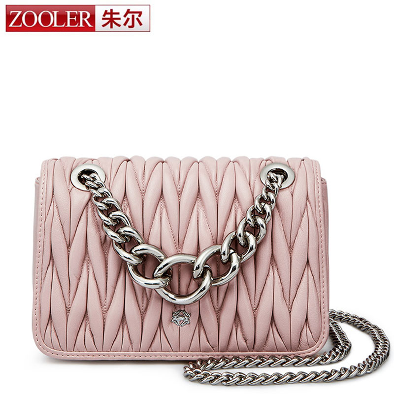 ZOOLER Sheepskin Quilted Leather Bag with Big Chain Women Handbag High Quality Luxury Genuine Leather Crossbody Bag Black Pink mini gray shaggy deer pvc quilted chain bag with cover real picture