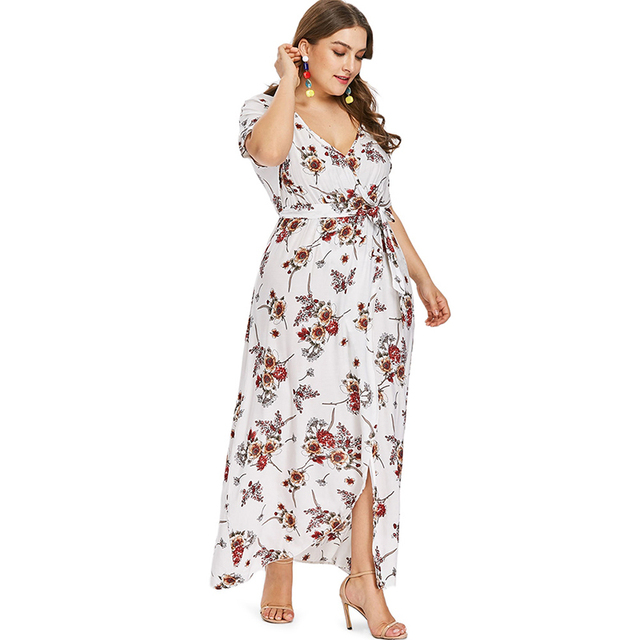 f8b0be3f1cd PlusMiss Plus Size 5XL XXXL Floral Flower Print Wrap Maxi Long Chiffon Dress  Women Summer 2018 Loose Beach Boho Dresses Big Size free shipping worldwide