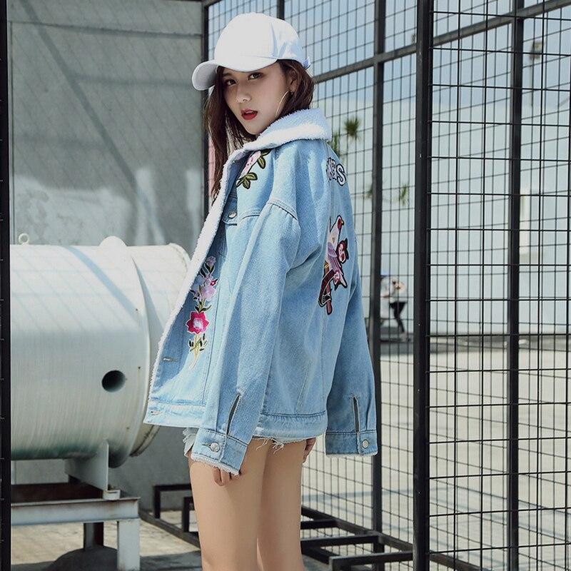 Doublure Pu Brodé Femmes 2018 Base Dames Mode Manteaux Oiseaux Fleur Nouvelles Bleu Vestes En De Survêtement Denim Ciel D'agneau Laine Vintage wFCTqwSB
