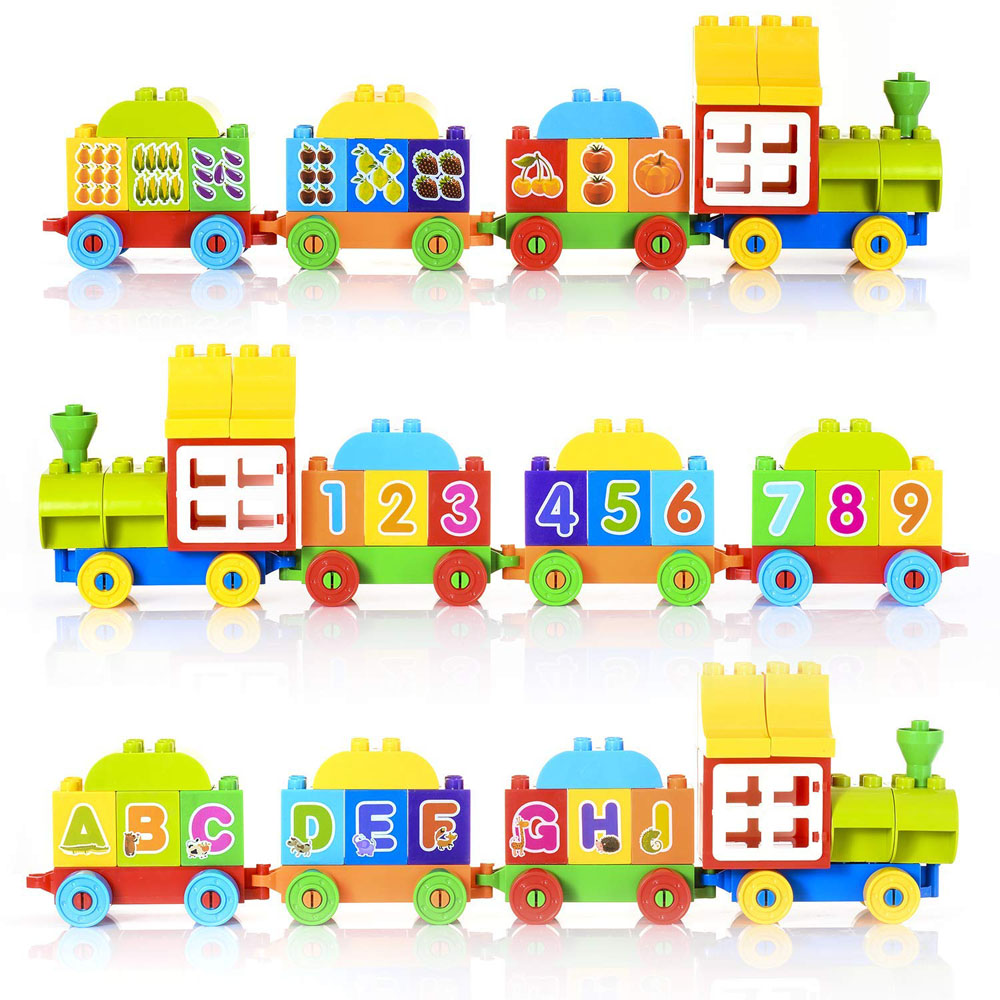 US $21 04 11% OFF|Big Blocks Building Set Compatible with Duploe DIY  ABC/123 Learning Train Toy Building Bricks Digital Alphabet Train Toy For  Kid-in