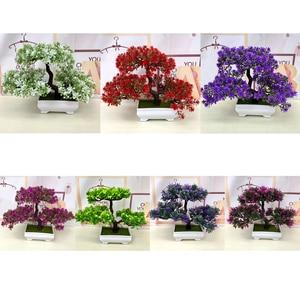 Image 2 - Gorące sztuczne kwiaty powitanie sosna Bonsai symulacja kwiaty ozdobne i wieńce fałszywe zielone rośliny doniczkowe Home Decor