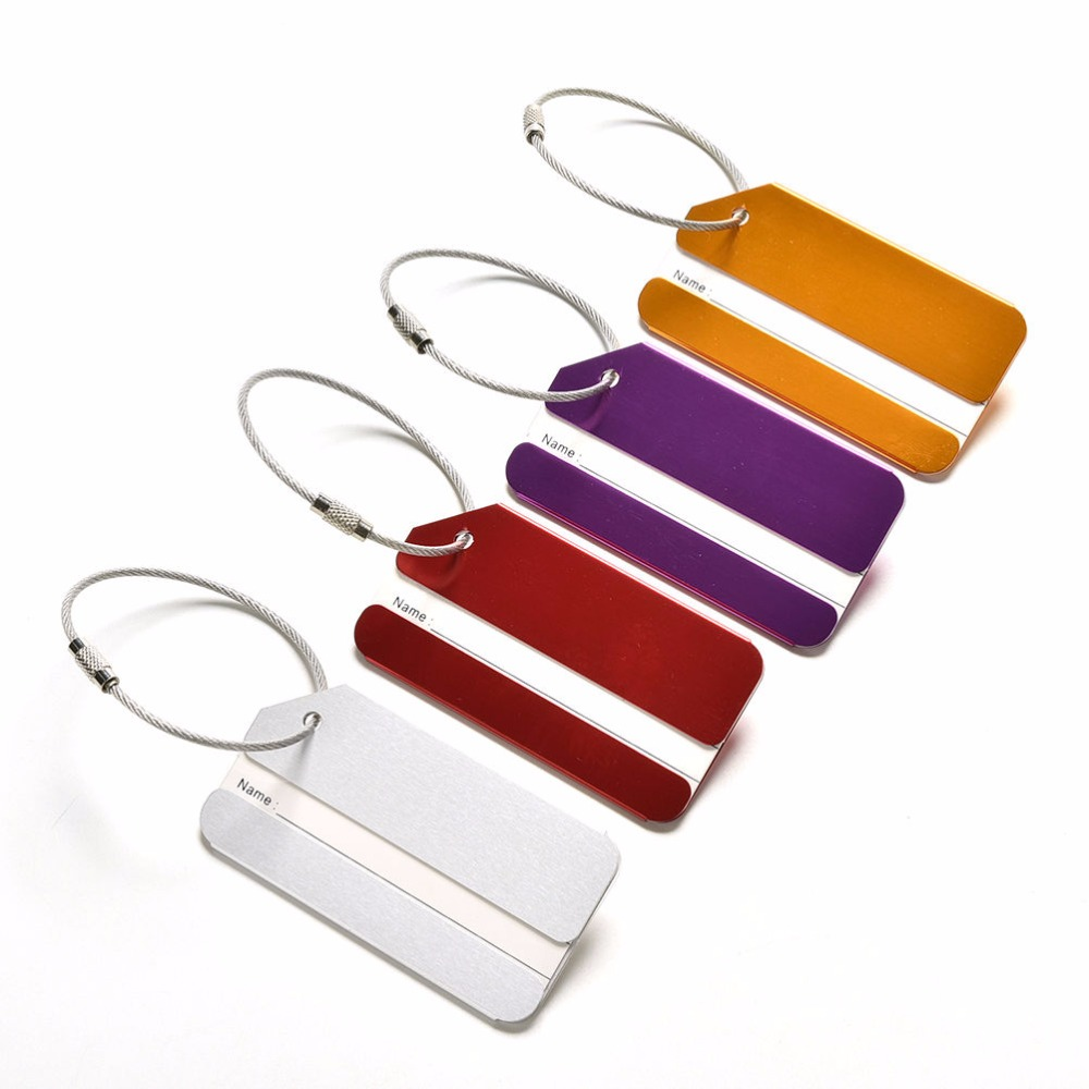 1PCS New Luggage Bag Tag Address Holder Secure ID Label Travel Aluminum Alloy With Ring For Luggage Tags