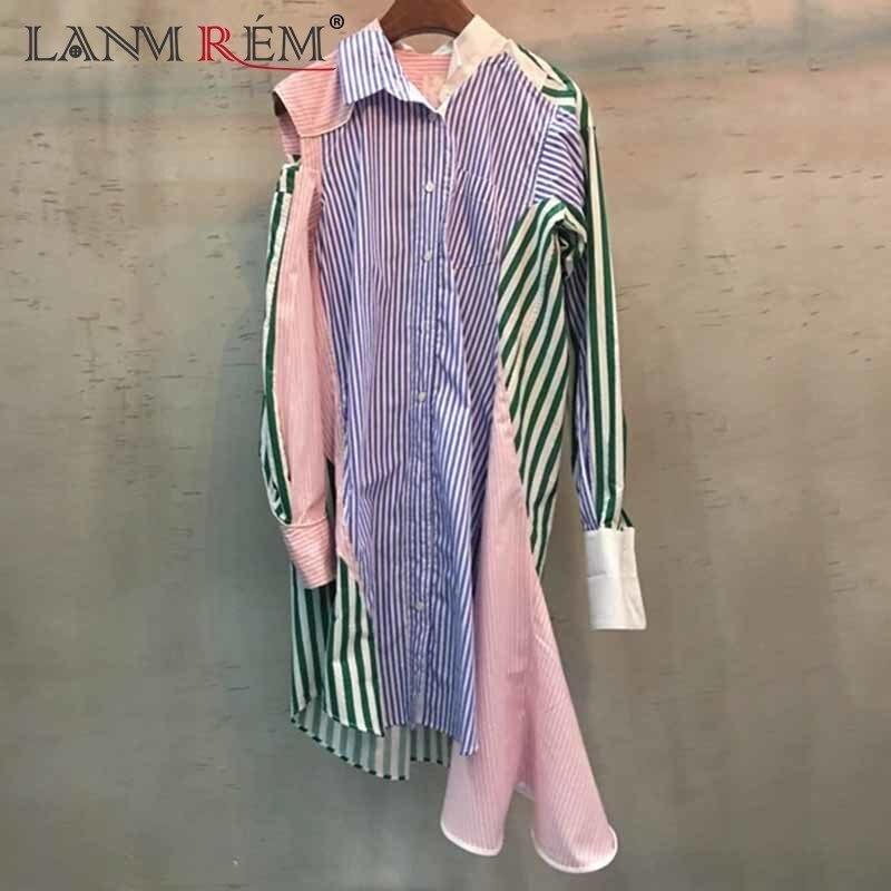 Lanmrem 2018 Новые Летние Свободного Покроя ассиметричная длиной до колен Лоскутная голое плечо выдалбливают Nutton модное платье-рубашка N994