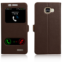 Window Cover Case For Samsung Galaxy A5 (2016) A5100 A510F Genuine Leather Magnet Flip Stand Mobile Phone Bag + free gift