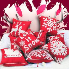 Cotton canvas wool embroidered Christmas series sofa cushion cover with Pillowcase