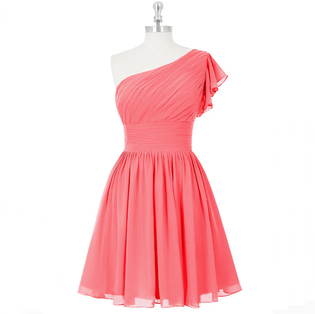 Cheap Customized One Shoulder Short Sleeve Empire A Line Short Coral Bridesmaid Dresses 2015 Junior Skirt Plus Size B8101