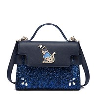 2017 New Fashion Bag All Match Satchel Handbags Sequins Heavy Blue Handbag Women Metal Cat Shoulder